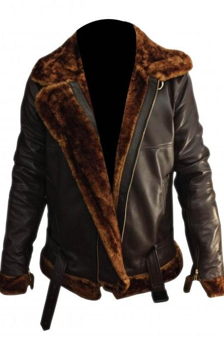 B3 Jacket Flight Shearling Pilot Real Sheepskin Brown Bomber Leather Jacket