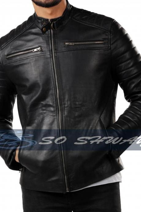 Mens Motorcycle Genuine Lambskin Leather Jacket Black Slim fit Biker Jacket