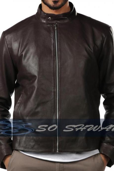 New Mens Genuine Sheepskin Brown Leather Motorcycle Slim fit Biker Jacket